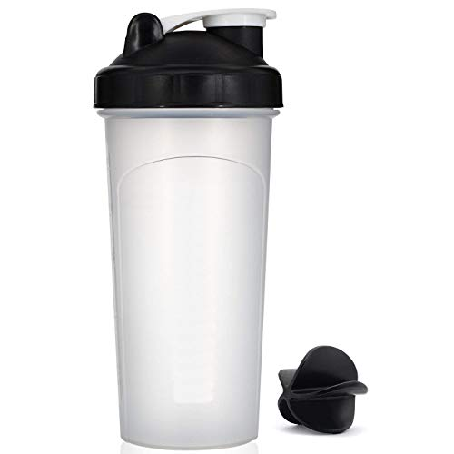 20oz Black Mix Whip Blend & Shake Clear Classic Colored Screw Top Shaker Bottle Sport Mixer Smoothie Protein Weight Loss Shakes & Powders with Black Stirring Ball