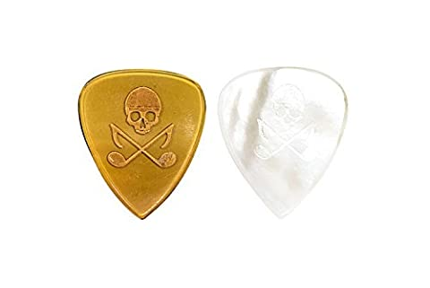 Brand New Skull and Tones Unique Guitar Picks: 2 Pack (Horn & Mother of Pearl) (Funky Guitar Strap)