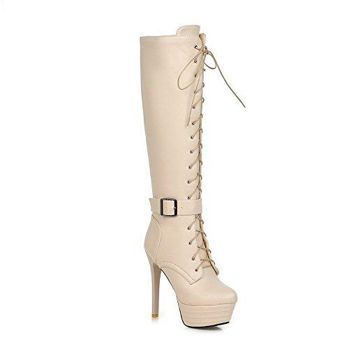 AllhqFashion Damen Hoher Absatz Rein Rund Zehe Blend-Materialien Schnüren Stiefel Cremefarben