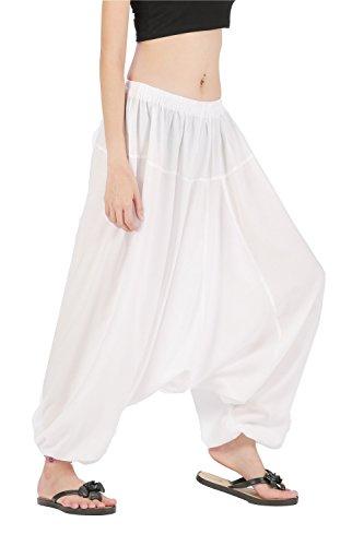 CandyHusky Men Women Elastic Baggy Hippie Boho Gypsy Aladdin Yoga Harem Pants (White)