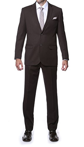 38R Zonettie PARKER Mens 2 Pc Slim Fit Brown Tone On Tone Striped Suit