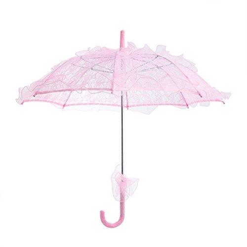 Price comparison product image BESTOYARD Stylish Western Style Umbrella Lace Fleur Parasol Decoration Wedding Bride Umbrella - Size Small (Pink)
