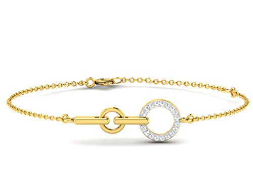 Or Jaune 14 ct Bracelet Diamant en forme de rond, 0.11 Ct Diamant, GH-SI, 0.98 grammes.