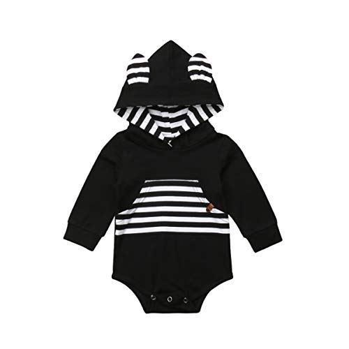 bebiullo Newborn Baby Girl Boy Clothes Hoodie with Pocket Bodysuit Romper Solid Color Outfit Clothing (6-12M, Black)