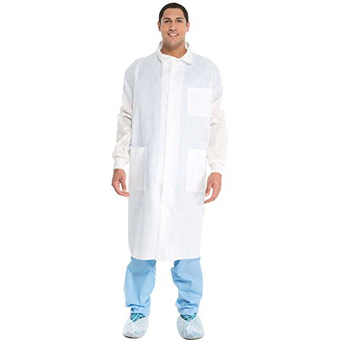 Kimtech A8 Certified Lab Coats with Knit Cuffs + Extra Protection (10042), Protective 3-Layer SMS Fabric, Back Vent, Unisex, White, Large, 25 / Case
