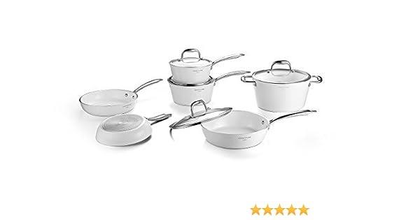 cooksmark swan-forged antiadherente revestimiento de cerámica resistente a los arañazos juego de ollas, ollas y sartenes Set se puede lavar en lavavajillas.