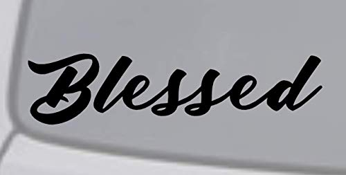 Crazy Discount Blessed Jesus Love God Bible Quote Christian Cross Fading Vinyl Sticker Decal Outside Inside Using for Laptops Water Bottles Cars Trucks Bumpers Walls, Black -