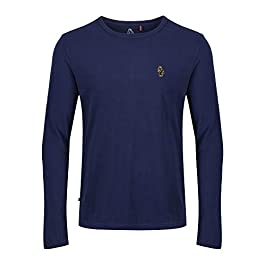 LUKE 1977 Mens Trous Long Sleeve Crew Neck Navy T-Shirt Top