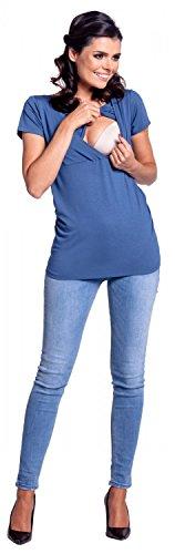 Zeta Ville - Premamá Top Camiseta de lactancia efecto 2 en 1 - para mujer - 790c Azul Jeans
