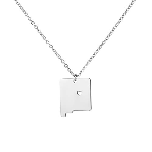 Yiyangjewelry Friendship Necklace State Jewelry Country Map Birthday Gift for Women NM