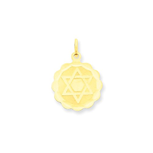 14k Gold Solid Star of David Disc Charm Pendant (0.83 in x 0.63 in)