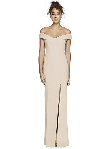 (Dessy Collection Crepe Trumpet Full Length Off The Shoulder Special Occasion Cocktail Dress 3012, Cameo 0R)