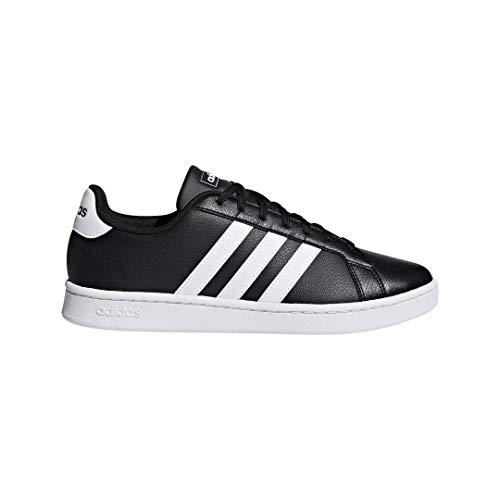 adidas Men's Grand Court Tennis Shoe, Black/White Leather, 9 M US