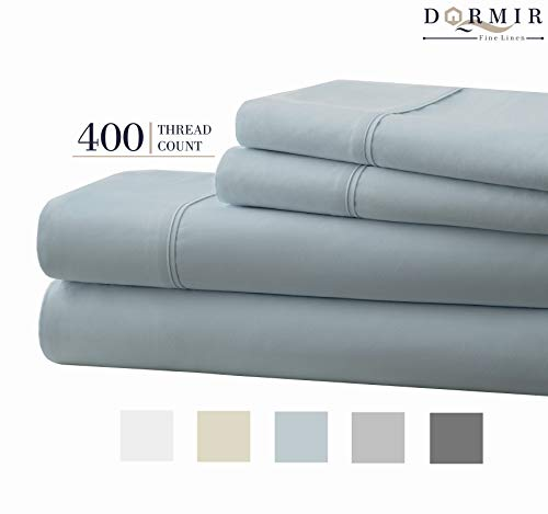 Dormir 400 Thread Count 100% Cotton Sheet Blue Queen Sheets Set, 4-Piece Long-Staple Combed Cotton Best Sheets for Bed, Breathable, Soft & Silky Sateen Weave Fits Mattress Upto 18'' Deep Pocket