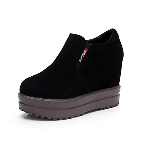 ASO-SLING Womens Wedge Sneakers Platform High Top Casual Comfortable Slip on Suede Moccasins Hidden Heel Walking Shoes