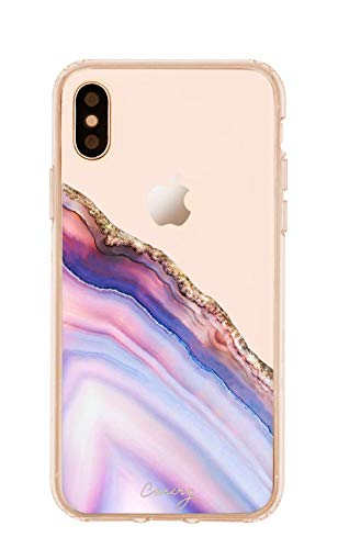 Casery Case Designed for The iPhone X/Xs, Pink & Blue Agate (Exotic Marble) - Military Grade Protection - Drop Tested - Protective Slim Clear Case