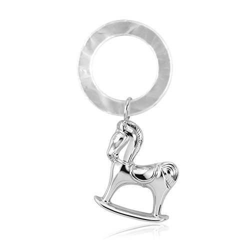 (Sterling Silver 925 Baby Rattle Rocking Horse Simulated Mother of Pearl Ring Keepsake )