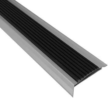 Perfil de cantos de escaleras de aluminio con antideslizante combinado – Plata – Antideslizante de rayas – 42 x 22 x 1000 – 1 pieza: Amazon.es: Bricolaje y herramientas