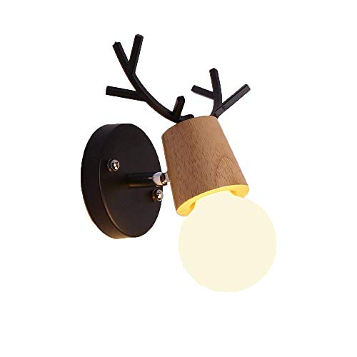 Mengzhu-Michelle Simple Bedside lamp Modern Wall lamp in elk Antler Indoor Wall lamp Bedroom lamp Wall Lighting; r Living Room Kitchen Hallway Nursery Child lamp 1 - Elk Antler Lamps