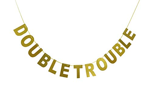 Double Trouble Bunting Banner Gold Glitter for Twins Baby Shower, Kids Birthday Party Decorations