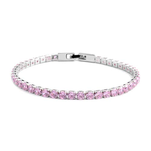 Shop LC Delivering Joy Pink Cubic Zirconia Eternity Bridal Tennis Bracelet Jewelry for Women CZ Classic Jewelry 8