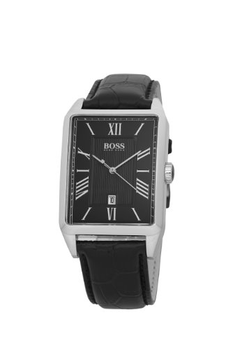 Hugo Boss Men's Leather Strap Black Dial Watch 1512425