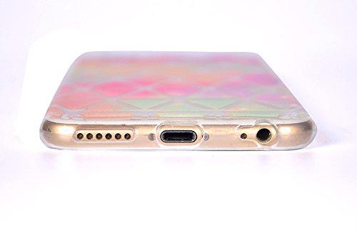 iPhone 6 6S Hülle , Leiai Pinke Rose TPU Transparent Weich Tasche Schutzhülle Silikon Handyhülle Stoßdämpfende Clear Schale Fall Case Shell für Apple iPhone 6 6S