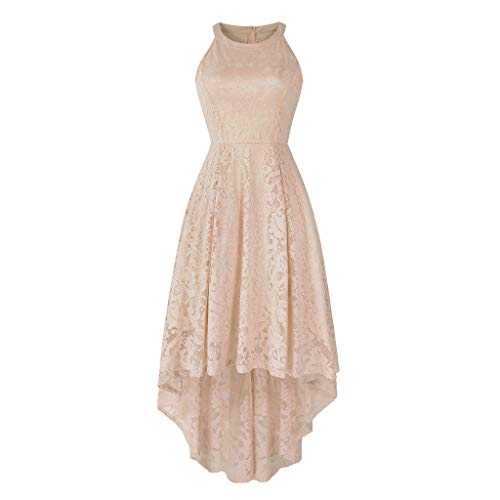 (Kulywon Women's Sleeveless Halter Floral Lace Solid Vintage Country Rock Cocktail Dress Beige)