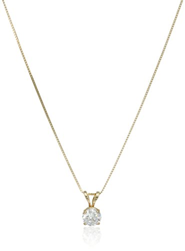- 14k Yellow Gold 5mm Round Cubic Zirconia Solitaire Pendant Necklace (0.50 carat, Diamond Equivalent), 18