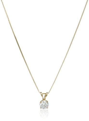 "14k Yellow Gold 5mm Round Cubic Zirconia Solitaire Pendant Necklace (0.50 carat, Diamond Equivalent), 18"""