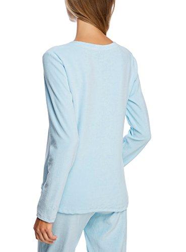 """oodji Ultra Mujer Jersey con Cuello Redondo y Estampado """"Liebre"""" Azul (7029P)"""