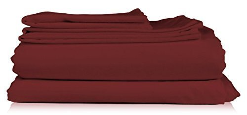 (Unique Hotel Collection 800TC 100% Egyptian Cotton Solid Burgundy 800-Thread-Count 4pc King Bed Sheet Set 100-Percent Cotton, Sateen Solid, Deep Pocket -- By UHCBeddings)