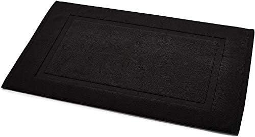 AmazonBasics – Tappetino per il bagno, con fascia decorativa, colore: nero