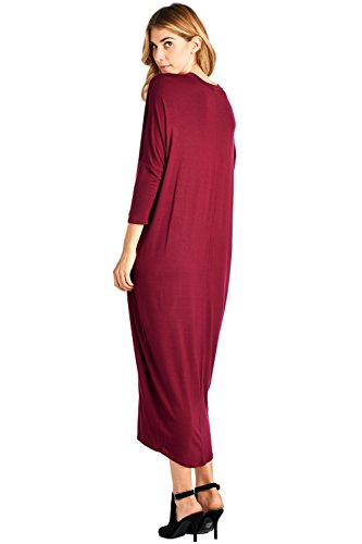 Up 2X Sleeve in Solid S Ami Dress 12 USA Long Cover Maxi Made Burgundy naXUnW6