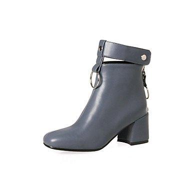RTRY Zapatos De Mujer Pu Primavera Otoño Moda Botas Botas Chunky Talón Botines/Botines De Casual Gris Amarillo Negro Beige US7.5 / EU38 / UK5.5 / CN38