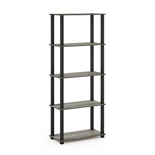 Furinno 18123GYW/BK Turn-S 5-Tier Multipurpose Display Rack with Square Tubes, French Oak ()