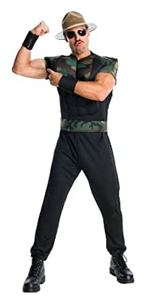 WWE Adult Sgt Slaughter Costume, Black/Green, Standard