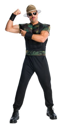 WWE Adult Sgt Slaughter Costume, Black/Green, X-Large