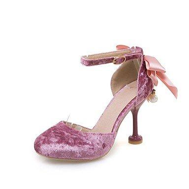 Piezas Rosa Confort LvYuan club Fiesta Vestido Red del Sandalias D'Orsay y Beige Stiletto Zapatos Mujer Noche Rojo y Dos Vellón Boda Tacón U4q40g