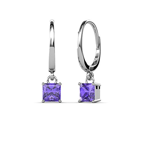 TriJewels Iolite Four Prong Solitaire Dangling Earrings 1.70 ctw in 14K White Gold