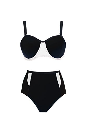 Spring Fever High Waist Plus Size Swimwear For Women Sexy Push Up Black Swimsuit
