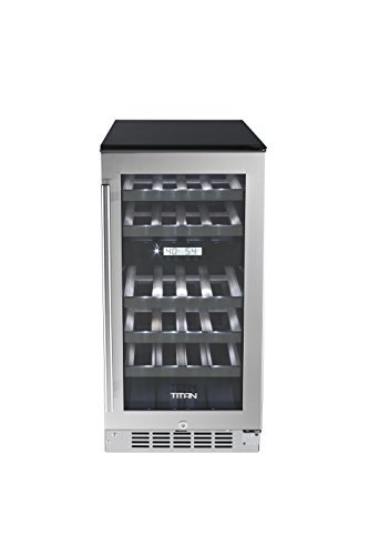 """Titan 15"""" 23-Bottle Built-in Or Freestanding Dual Zone Wine Cooler, Large-Capacity Wooden Stainless Steel-Trimmed Shelves, Memory Temperature Function, Open Door&High Temperature Alarms, Carbon Filter"""