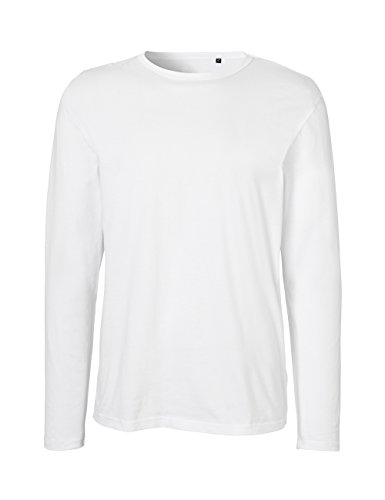 Green Cat Neutral Mens Long Sleeve T-Shirt, 100% Organic Cotton and Fairtrade Certified, Color White, Size XL