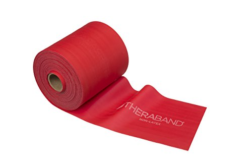 - TheraBand Resistance Band 50 Yard Roll, Medium Red Non-Latex Professional Elastic Bands for Upper & Lower Body Exercise, Physical Therapy, Pilates, Rehab, Dispenser Box, Beginner Level 3