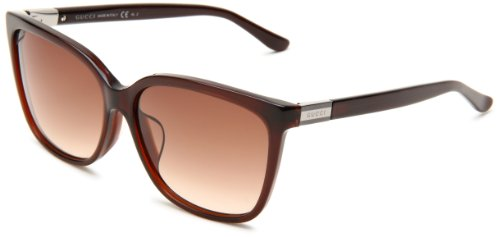 Gucci Women's 3522/F/S Wrap Sunglasses,Dark Olive Frame/Brown Gradient Lens,One - Wrap Sunglasses Gucci