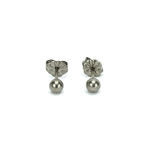 Titanium Ball Earrings - 4mm with Post 100% Hypoallergenic for Sensitive Ears (4mm) (Ball Titanium Stud)