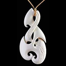 Amazon large hand made maori koru bone carving necklace from