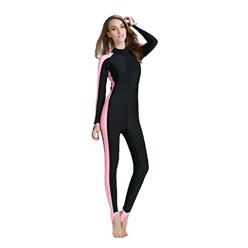 - Women One Piece Swimwear Dive Skin Surf Swimsuit Lycra Long Sleeve Bathing Suit Full Suit and Swimsuit(Pink,XL)
