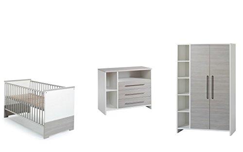 Schardt Kinderzimmer Eco Silber bestehend aus: Kombi-Kinderbett 70x140 cm (inklusive Umbauseiten), Wickelkommode mit Wickelaufsatz und 2-türigem Kleiderschrank