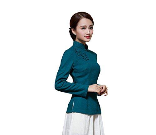 Style Devant Longue Rtro Femme Chinoise Chemise Fleur Couleurs Plusieurs de Blouse Bleu Veste Tang ACVIP Fonc Manche pour XgvnzCC